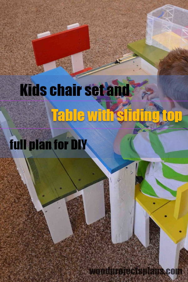 Astounding Kids Chair Set And Table With Sliding Top Wood Projects Plans Caraccident5 Cool Chair Designs And Ideas Caraccident5Info